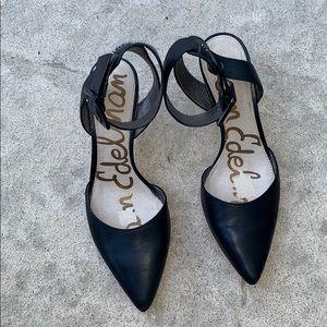 Sam Edelman Okala Ankle Strap Blk Leather Heel 8.5